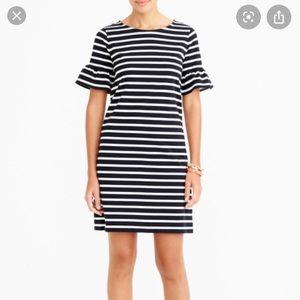 NWT J. Crew Factory Stripe Ruffle Sleeve Dress